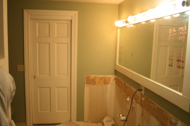 Vanity removed. Sink and faucets were saved for Habitat for Humanity.